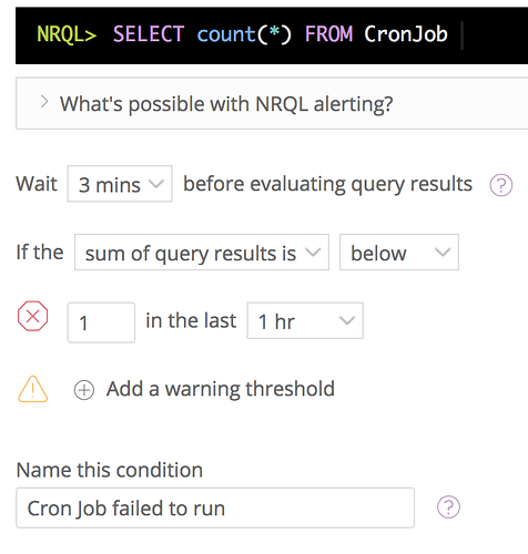 I need robust cron job monitoring - Alerts - New Relic