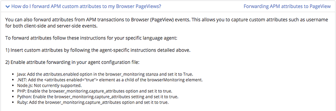 Enable Attribute forwarding (to Browser Monitoring) not